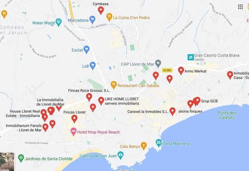 API inmobiliarios en Lloret de Mar. Mapa de inmobiliarias