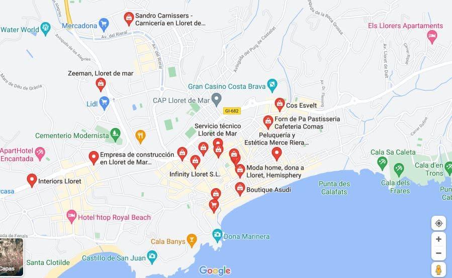 Comercios en Lloret de Mar. Mapa de comercios