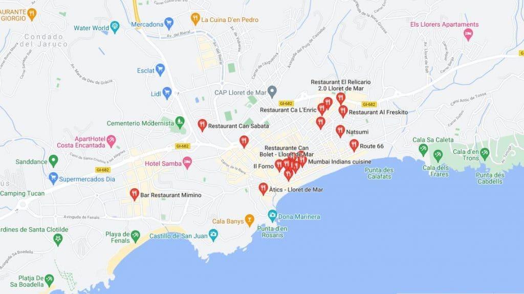 Restaurantes y bares de Lloret de Mar. Mapa y ubicaciones